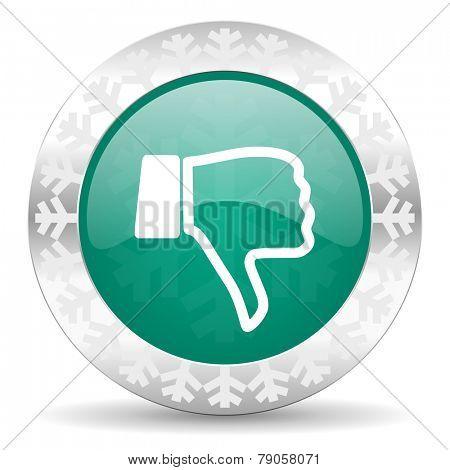 dislike green icon, christmas button, thumb down sign