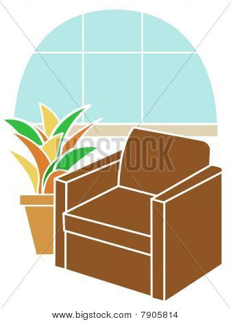 Armchair infront of Bay Window accented by tropical plant