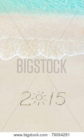Inscription 2015 On Sea Beach With Sun Rays Against Wave Foam