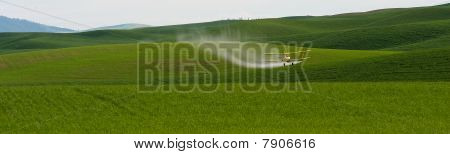 Crop duster over wheat field