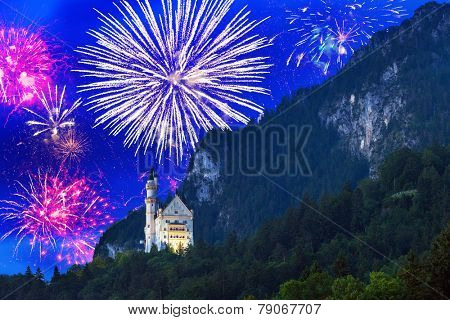 New Year fireworks display in Bavarian Alps, Germany