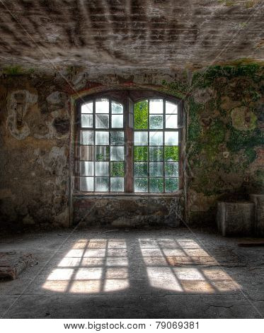 Old Window With Sun Rays