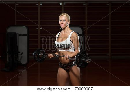 Woman In The Gym Exercising Biceps With Barbell