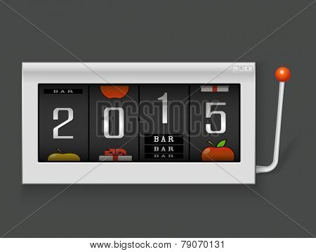 Happy New Year. Slot machine with 2015 digits