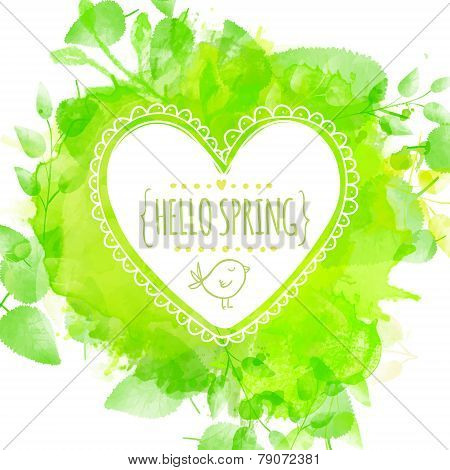 White hand drawn heart frame with doodle bird and text hello spring. Green watercolor splash backgro