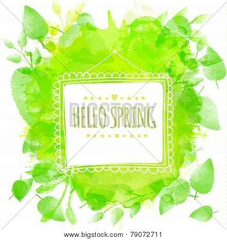 White doodle square frame with text hello spring. Green watercolor splash background with printed le