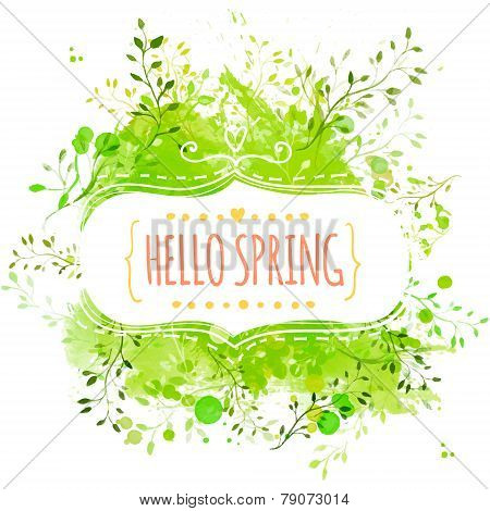 White decorative frame with text hello spring. Green paint splash background with leaves. Fresh vect