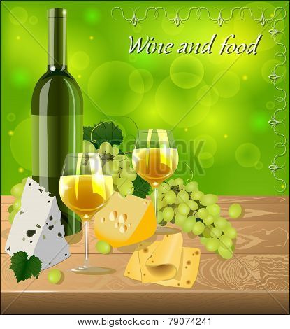 Bottle Of White Wine With Glasses, A Bunch Of Grapes, Different Kinds Of Cheese On A Wooden Table To