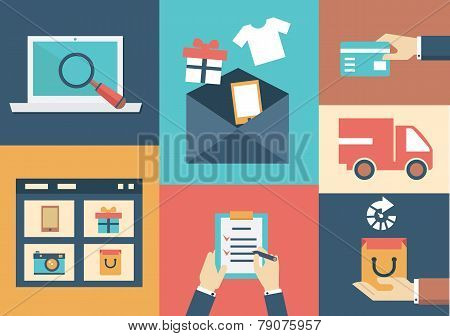 Vector Concept Of Process Email Marketing. Flat Style Design