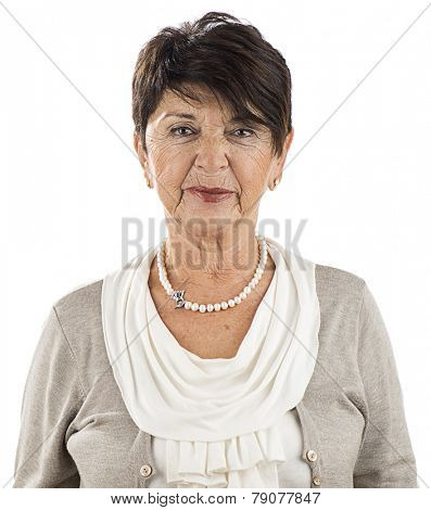 Portrait of a mature adult woman smiling isolated on white background.