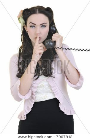 Pretty Girl Talking On Old Phone