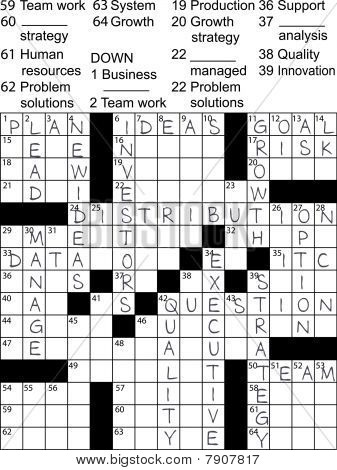 Business Plan Idea Solutions Crossword Puzzle.