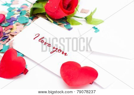 Note Valentine and rose