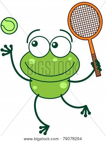 Green frog playing tennis