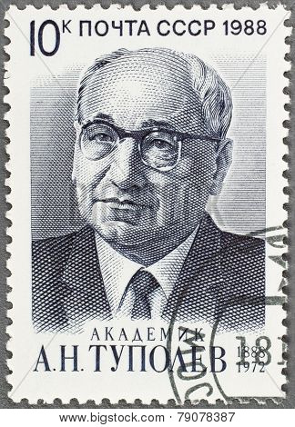 A Post Stamp Printed In Ussr 1988 Shows Portrait A. Tupolev's