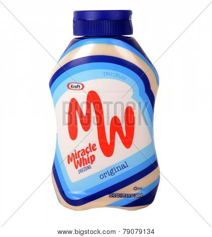 Los Angeles,California Dec 10th 2014: Nice Image of a Bottle of Kraft Miricle Whip