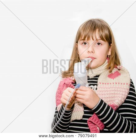 Teen Girl With Nebulizer In Hands