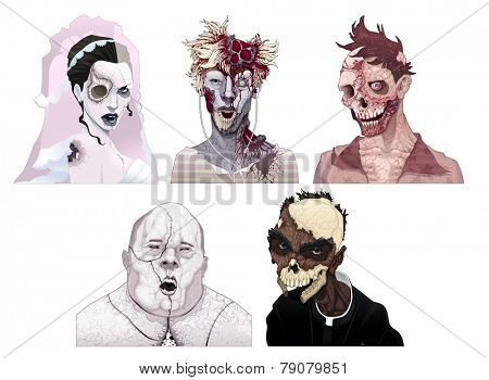 Zombie portraits. Horror and vector isolated characters.