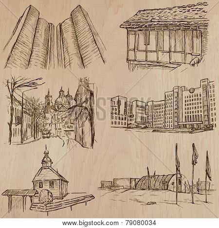 Architecture, Famous Places - Hand Drawn Vectors