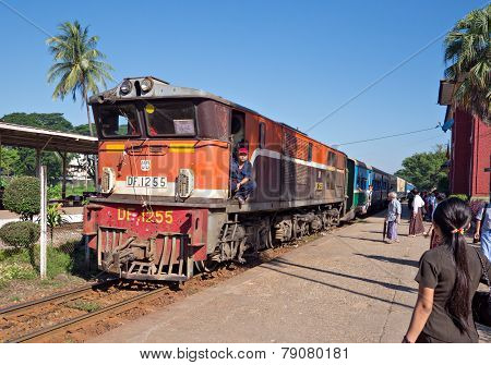 Railway Train In Yangon, Myanmar