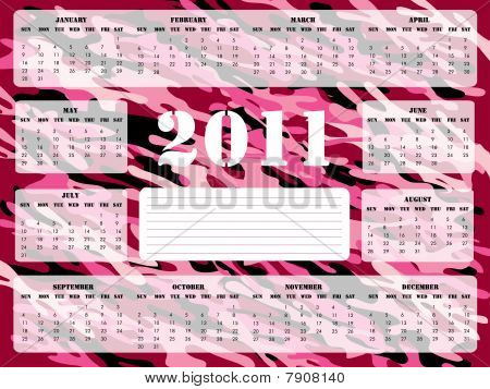 2011 Calendar in Pink and Burgundy - Sunday Start
