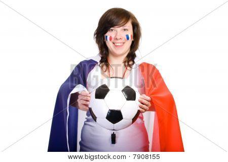 Partidario de equipo de fútbol francés con la bandera con la bola, aislado