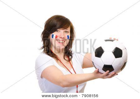 Feliz fútbol francés partidario, aislado en blanco