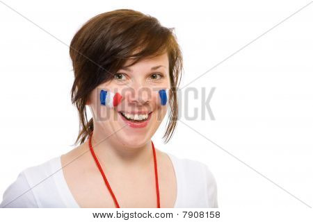Female, French Team Supporter, Isolated On Black
