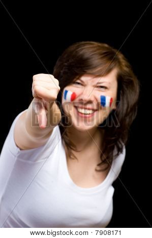 French Female Supporter Shows Thumb Down Gesture, Isolated