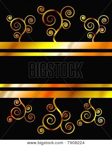 golden Swooshes on Black