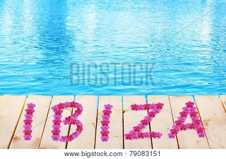 Ibiza vacation holidays background. Wooden bridge on way to harbor, close-up