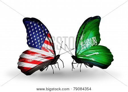 Two Butterflies With Flags On Wings As Symbol Of Relations Usa And Saudi Arabia