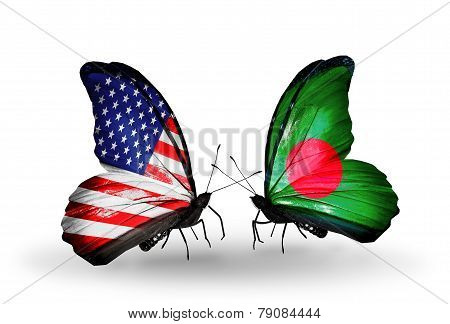 Two Butterflies With Flags On Wings As Symbol Of Relations Usa And Bangladesh
