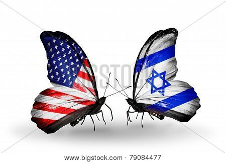 Two Butterflies With Flags On Wings As Symbol Of Relations Usa And Israel