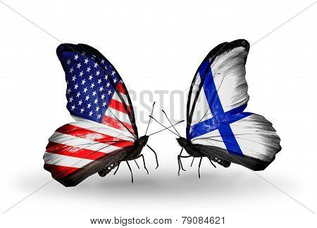 Two Butterflies With Flags On Wings As Symbol Of Relations Usa And Finland