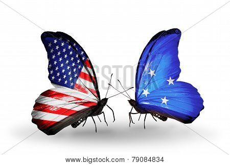 Two Butterflies With Flags On Wings As Symbol Of Relations Usa And Micronesia