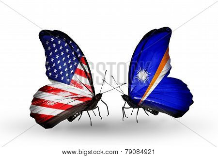 Two Butterflies With Flags On Wings As Symbol Of Relations Usa And Marshall Islands