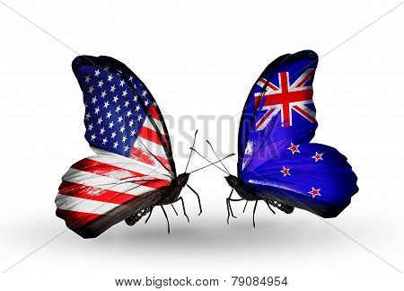 Two Butterflies With Flags On Wings As Symbol Of Relations Usa And New Zeland