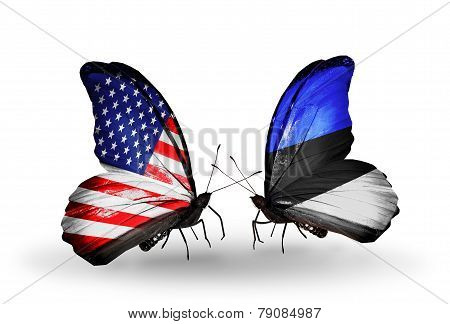 Two Butterflies With Flags On Wings As Symbol Of Relations Usa And Estonia