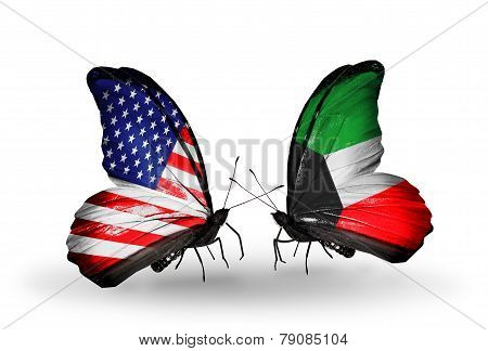 Two Butterflies With Flags On Wings As Symbol Of Relations Usa And Kuwait