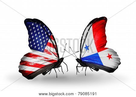 Two Butterflies With Flags On Wings As Symbol Of Relations Usa And Panama