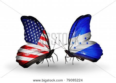 Two Butterflies With Flags On Wings As Symbol Of Relations Usa And Honduras