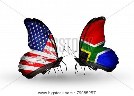 Two Butterflies With Flags On Wings As Symbol Of Relations Usa And South Africa