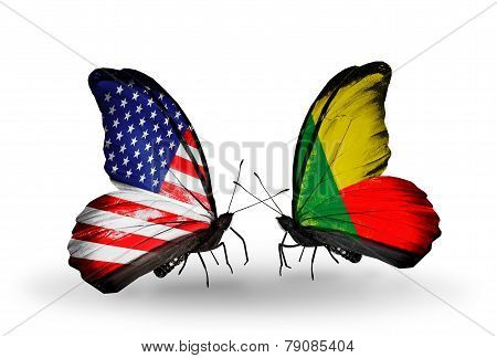 Two Butterflies With Flags On Wings As Symbol Of Relations Usa And Benin