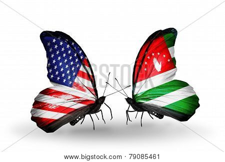 Two Butterflies With Flags On Wings As Symbol Of Relations Usa And Abkhazia
