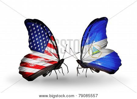 Two Butterflies With Flags On Wings As Symbol Of Relations Usa And Nicaragua