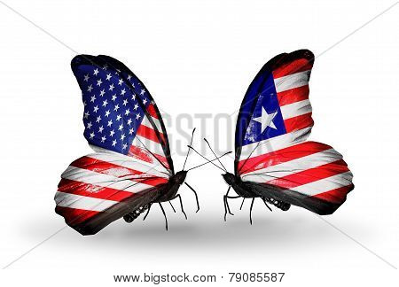 Two Butterflies With Flags On Wings As Symbol Of Relations Usa And Liberia