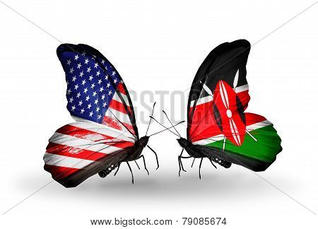 Two Butterflies With Flags On Wings As Symbol Of Relations Usa And Kenia
