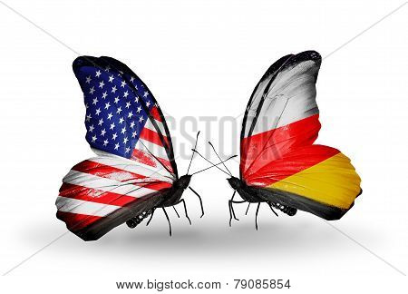 Two Butterflies With Flags On Wings As Symbol Of Relations Usa And South Ossetia