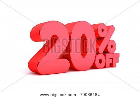20% Off 3D Render Red Word Isolated in White Background